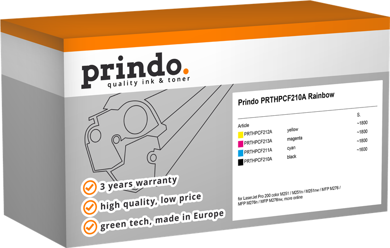 value pack Prindo PRTHPCF210A Rainbow
